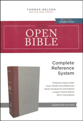 NKJV Comfort Print Open Bible, Cloth Over Board,  gray/burgundy   -