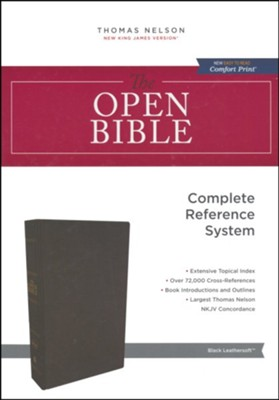 NKJV Comfort Print Open Bible, Imitation Leather, Black  -