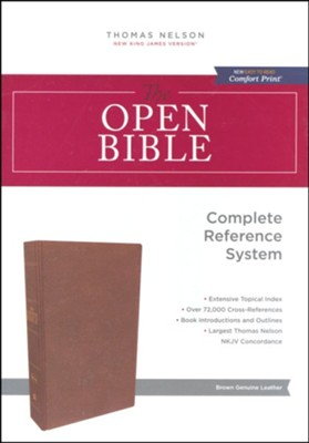 NKJV Comfort Print Open Bible, Genuine Leather, Brown  -