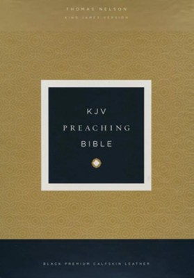 KJV Comfort Print Preaching Bible, Premium Calfskin Leather, Black  -