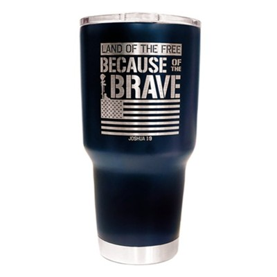 Land of the Free Because of the Brave Stainless Steel Tumbler, Navy Blue  -