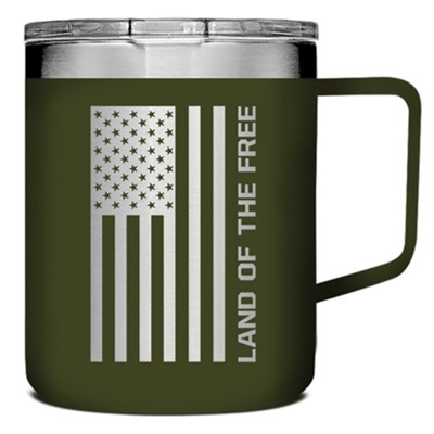 Land of the Free Because of the Brave Stainless Steel Mug, Military Green  -