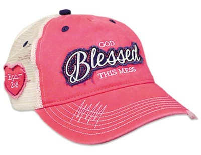 God Blessed This Mess Cap, Mesh Back, Pink/White  -