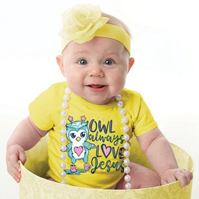 Owl Always Love Jesus Shirt, Yellow, 6 Months  -