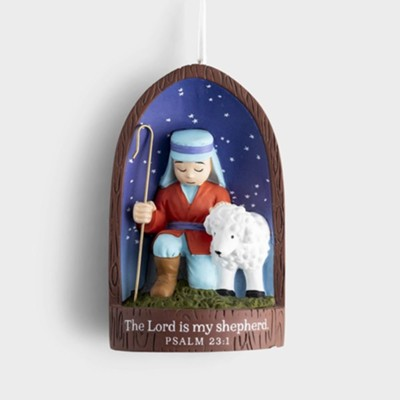 Shepherd and Sheep Resin Ornament  -