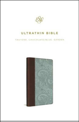 ESV UltraThin Bible--soft leather-look, chocolate/blue with garden design  -