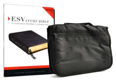 ESV Study Bible--genuine leather, black with Bible cover  -