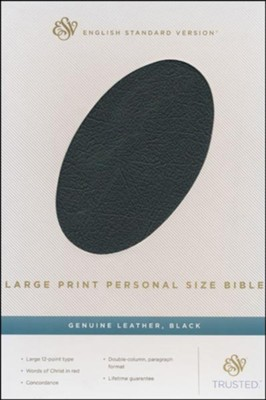 ESV Large Print Personal Size Bible, Black Genuine Leather  -