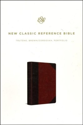 ESV Reference Bible--soft leather-look, brown/cordovan, portfolio design  -
