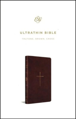 ESV UltraThin Bible--soft leather-look, brown with cross design  -