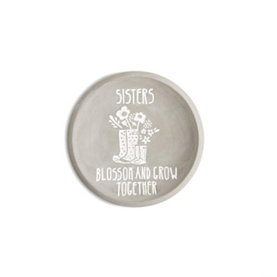Sisters Blossom and Grow Together, Cement Keepsake Plate  -