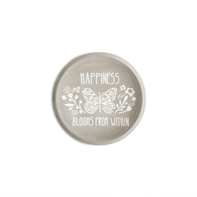 Happiness Blooms From Within, Cement Keepsake Plate  -
