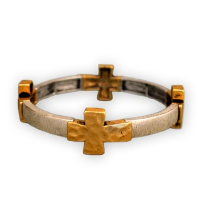 Four Gold Crosses Bracelet, Silver Band  -