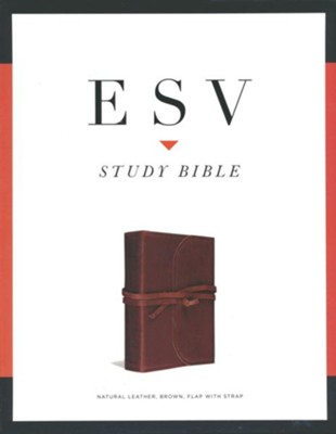 ESV Study Bible (Brown, Flap with Strap) Natura Leather - Slightly Imperfect  -