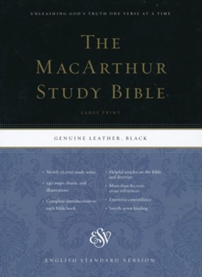 ESV MacArthur Study Bible, Large Print, Black Genuine Leather  -