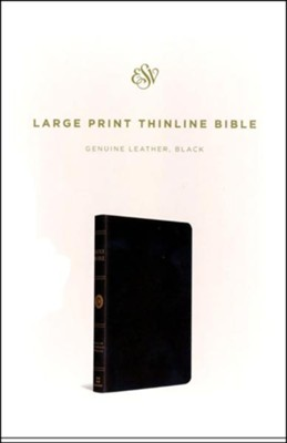 ESV Large Print Thinline Bible, Black Genuine Leather  -
