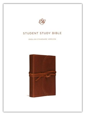 ESV Student Study Bible, Natural Leather, Brown, Flap with Strap  -
