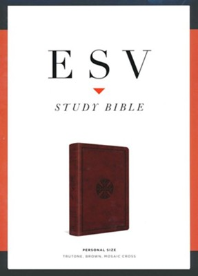 ESV Study Bible, Personal Size (TruTone Imitation Leather, Brown with Mosaic Cross Design)  -