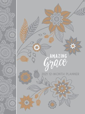 2021 Amazing Grace 12-Month Planner with Zipper, Gray  -