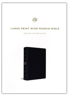 ESV Large Print Wide Margin Bible (Black), Leather, real  -