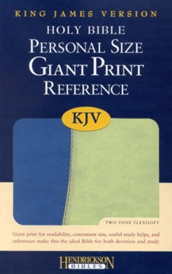 KJV Giant Print Reference Bible, Imitation Leather, Blue/Green  -