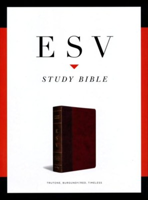 ESV Study Bible, TruTone Imitation Leather, Burgundy/Red with Timeless Design  -