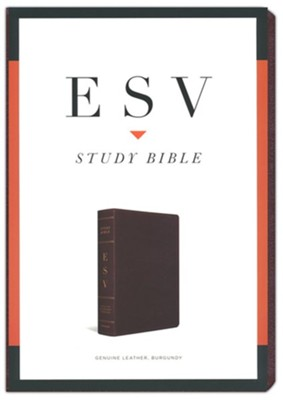 ESV Study Bible, Burgundy Genuine Leather with Thumb Index  -