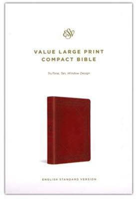 ESV Value Large-Print Compact Bible--soft leather-look, tan with window design  -