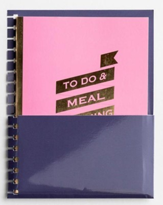 To Do & Meal Planning, Agenda Planner Jotter   with Pocket Holder Insert   -