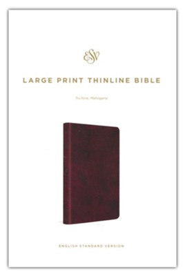 ESV Large-Print Thinline Bible--soft leather-look, mahogany  -