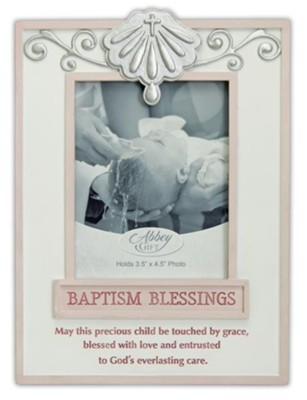 Baptism Blessings Photo Frame, Pink  -