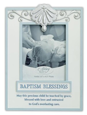 Baptism Blessings Photo Frame, Blue  -