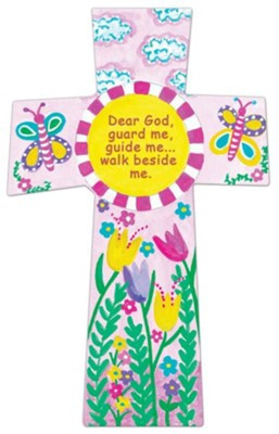Dear God, Guard Me, Guide Me, Wall Cross, Pink  -