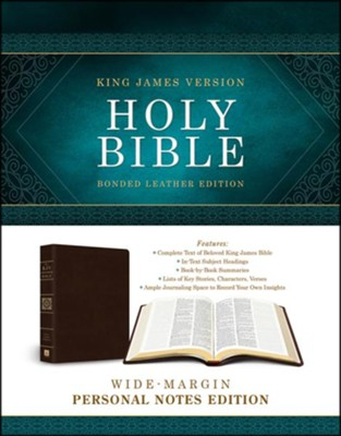 KJV Wide-Margin Personal Notes Bible, Bonded Leather, Dark Brown  -