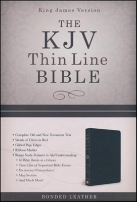 KJV Thinline Bible--bonded leather, black    -