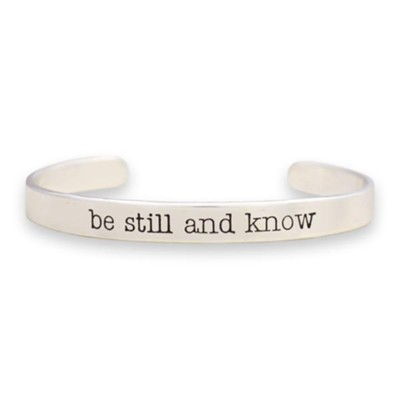 Be Still and Know Cuff Bracelet, Silver  -