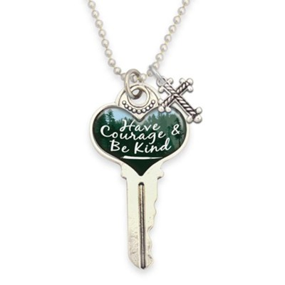 Have Courage and Be Kind Key with Cross, Necklace  -