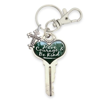 Have Courage and Be Kind Key with Cross, Keyring  -