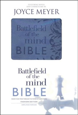 Amplified Bible, Battlefield Of The Mind Bible,  Imitation Leather, Blue - Slightly Imperfect  -     By: Joyce Meyer