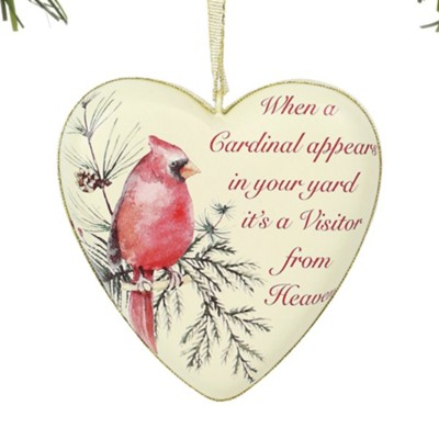 Cardinal Visitor Heart Ornament  -