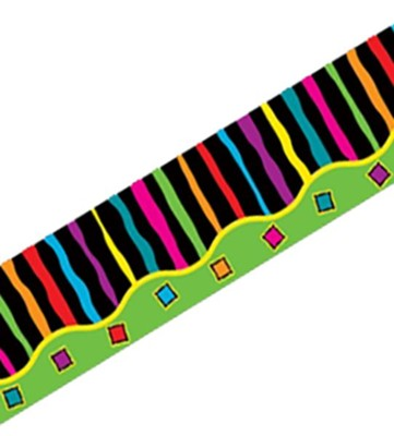 All-Around Double Sided Border Trim: Neon Stripes & Flowers (35 Feet)  -