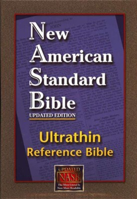NASB Ultrathin Reference Bible--genuine leather, burgundy   -