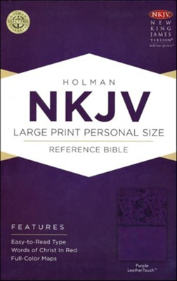 NKJV Large Print Personal Size Reference Bible, Purple LeatherTouch - Imperfectly Imprinted Bibles  -