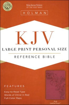 KJV Large Print Personal Size Reference Bible, Pink LeatherTouch  -