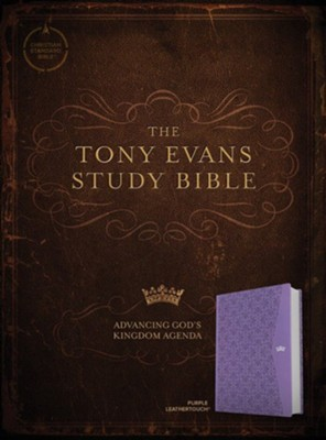 CSB Tony Evans Study Bible--soft leather-look, purple  -