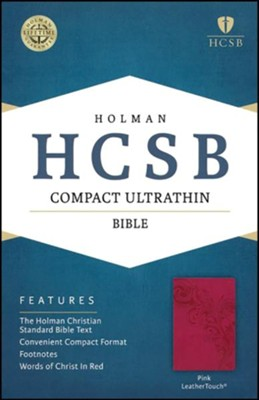 HCSB Compact Ultrathin Bible, Pink LeatherTouch , Gilded  -