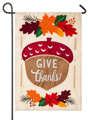Give Thanks Acorn Applique Flag, Small  -