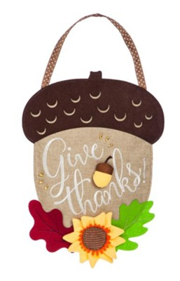 Acorn, Give Thanks Burlap Door Hanger  -