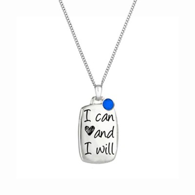 I Can and I Will Bottled Necklace with Blue Accent Stone  -     By: Embrace your message