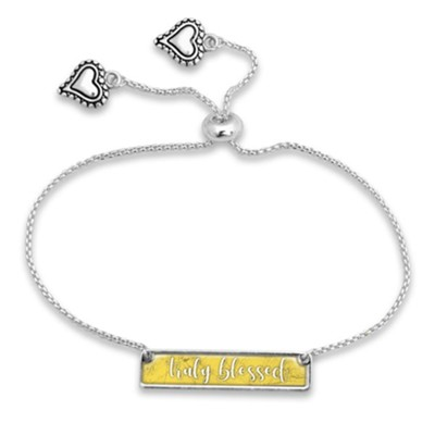 Truly Blessed, Words of Wisdom, Nameplate Bracelet, Yellow  -